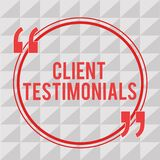 Writing note showing Client Testimonials. Business photo showcasing Written Declaration Certifying persons Character. Value royalty free illustration