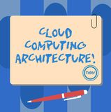 Writing note showing Cloud Computing Architecture. Business photo showcasing Components and the relationships between. Them Square Color Board with Magnet Click vector illustration