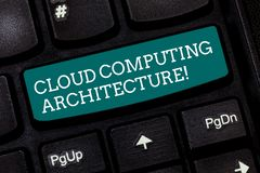 Writing note showing Cloud Computing Architecture. Business photo showcasing Components and the relationships between. Them Keyboard key Intention to create royalty free stock image