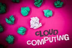 Writing note showing Cloud Computing. Business photo showcasing Online Information Storage Virtual Media Data Server Text Words p royalty free stock photos
