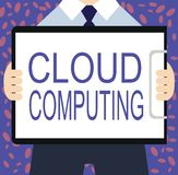 Writing note showing Cloud Computing. Business photo showcasing use a network of remote servers hosted on the Internet.  vector illustration