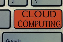Writing note showing Cloud Computing. Business photo showcasing use a network of remote servers hosted on the Internet.  royalty free illustration