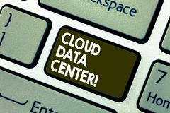 Writing note showing Cloud Data Center. Business photo showcasing off premise form computing that stores data on