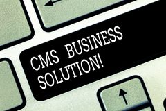 Writing note showing Cms Business Solution. Business photo showcasing software application use to create and analysisage. Website Keyboard key Intention to royalty free stock photo