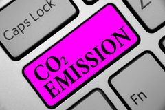 Writing note showing Co2 Emission. Business photo showcasing Releasing of greenhouse gases into the atmosphere over time Keyboard. Purple key Intention computer stock image