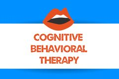 Writing note showing Cognitive Behavioral Therapy. Business photo showcasing Psychological treatment for mental. Disorders royalty free illustration