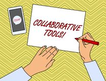 Writing note showing Collaborative Tools. Business photo showcasing Private Social Network to Connect thru Online Email. Writing note showing Collaborative Tools royalty free illustration