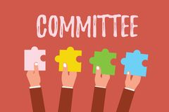 Writing note showing Committee. Business photo showcasing Group of showing appointed for a specific function Company teamwork.  royalty free stock image