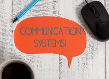 Writing note showing Communication Systems. Business photo showcasing Flow of Information use of Machine to transmit. Writing note showing Communication Systems royalty free stock photo