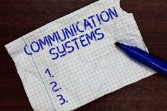 Writing note showing Communication Systems. Business photo showcasing Flow of Information use of Machine to transmit. Signals Squared notebook paper Markers stock photography