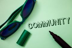 Writing note showing  Community. Business photo showcasing Neighborhood Association State Affiliation Alliance Unity Group Ideas m. Essages white background open Royalty Free Stock Photography