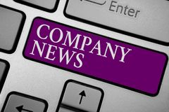 Writing note showing Company News. Business photo showcasing Latest Information and happening on a business Corporate Report Keybo. Ard purple key Intention stock photos