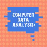 Writing note showing Computer Data Analysis. Business photo showcasing using computer to assist qualitative data analysis Speech. Bubble in Puzzle Piece Shape vector illustration