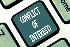 Writing note showing Conflict Of Interest. Business photo showcasing interests of public duty versus private interests. Keyboard key Intention to create stock illustration
