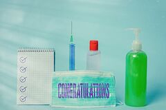 Writing note showing Congratulations. Business photo showcasing a congratulatory expression usually used in plural form
