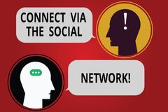 Writing note showing Connect Via The Social Network. Business photo showcasing Online communications networking advance Messenger. Room with Chat Heads Speech stock illustration
