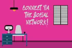 Writing note showing Connect Via The Social Network. Business photo showcasing Online communications networking advance. Minimalist Interior Computer and Study stock illustration