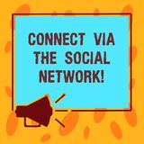 Writing note showing Connect Via The Social Network. Business photo showcasing Online communications networking advance. Megaphone Sound icon Outlines Square stock illustration