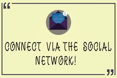 Writing note showing Connect Via The Social Network. Business photo showcasing Online communications networking advance. Open Envelope with Paper Email Message stock illustration