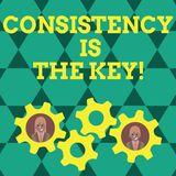 Writing note showing Consistency Is The Key. Business photo showcasing by Breaking Bad Habits and Forming Good Ones Two. Writing note showing Consistency Is The stock illustration
