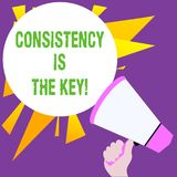 Writing note showing Consistency Is The Key. Business photo showcasing by Breaking Bad Habits and Forming Good Ones. Writing note showing Consistency Is The Key royalty free illustration