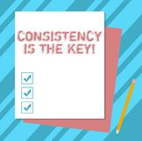 Writing note showing Consistency Is The Key. Business photo showcasing Full Dedication to a Task a habit forming process Stack of. Different Pastel Color vector illustration