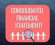Writing note showing Consolidated Financial Statement. Business photo showcasing Total health of a whole group of vector illustration