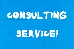 Writing note showing Consulting Service. Business photo showcasing Experts that offers knowledge to a third party for a. Writing note showing Consulting Service stock photo