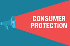 Writing note showing Consumer Protection. Business photo showcasing Fair Trade Laws to ensure Consumers Rights. Protection stock illustration