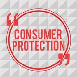 Writing note showing Consumer Protection. Business photo showcasing Fair Trade Laws to ensure Consumers Rights. Protection royalty free illustration
