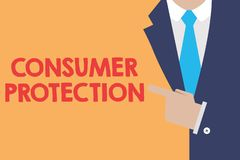 Writing note showing Consumer Protection. Business photo showcasing Fair Trade Laws to ensure Consumers Rights. Protection vector illustration