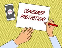Writing note showing Consumer Protection. Business photo showcasing Fair Trade Laws to ensure Consumers Rights. Writing note showing Consumer Protection royalty free illustration