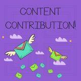 Writing note showing Content Contribution. Business photo showcasing contribution of information to any digital media. Writing note showing Content Contribution stock illustration