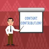 Writing note showing Content Contribution. Business photo showcasing contribution of information to any digital media. Writing note showing Content Contribution vector illustration