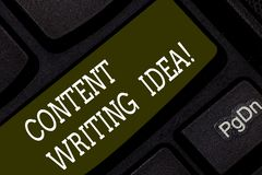 Writing note showing Content Writing Idea. Business photo showcasing Concepts on writing campaigns to promote product stock photos