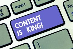 Writing note showing Content Is King. Business photo showcasing Content is the heart of todays marketing strategies. Keyboard key Intention to create computer royalty free stock image