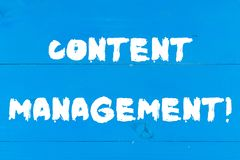 Writing note showing Content Management. Business photo showcasing Process that collects analysisage and publish. Writing note showing Content Management royalty free stock photos