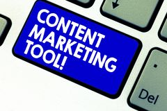 Writing note showing Content Marketing Tool. Business photo showcasing Aid use to create and analysisage content. Marketing Keyboard key Intention to create stock photos