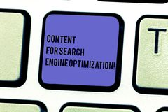 Writing note showing Content For Search Engine Optimization. Business photo showcasing SEO digital marketing strategies. Keyboard key Intention to create stock photo