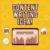 Writing note showing Content Writing Idea. Business photo showcasing Concepts on writing campaigns to promote product Digital stock illustration
