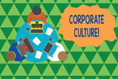 Writing note showing Corporate Culture. Business photo showcasing Beliefs and ideas that a company has Shared values. Writing note showing Corporate Culture stock illustration
