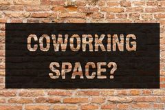 Writing note showing Coworking Spacequestion. Business photo showcasing Business services providing shared offices to royalty free stock image