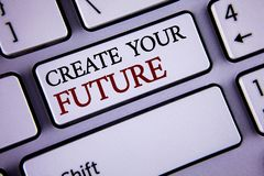 Writing note showing  Create Your Future. Business photo showcasing career goals Targets improvement set plans learning written on. Writing note showing  Create Royalty Free Stock Image