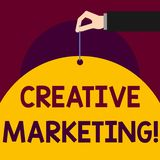 Writing note showing Creative Marketing. Business photo showcasing Campaigning to meet the advertising requirements Man. Writing note showing Creative Marketing stock illustration
