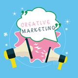 Writing note showing Creative Marketing. Business photo showcasing Campaigning to meet the advertising requirements.  royalty free illustration