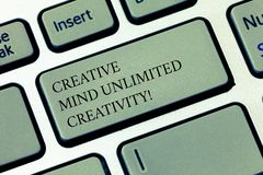 Writing note showing Creative Mind Unlimited Creativity. Business photo showcasing Full of original ideas brilliant. Brain Keyboard key Intention to create royalty free stock photography