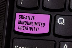 Writing note showing Creative Mind Unlimited Creativity. Business photo showcasing Full of original ideas brilliant. Brain Keyboard key Intention to create stock images