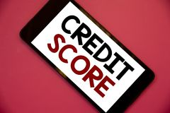 Writing note showing Credit Score. Business photos showcasing Capacity to repay a loan Creditworthiness of an individual. Writing note showing Credit Score royalty free stock images