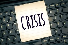 Writing note showing Crisis. Business photo showcasing time when difficult or important decision must be made danger royalty free stock photos