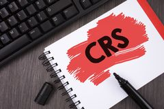 Writing note showing  Crs. Business photo showcasing Common reporting standard for sharing tax financial information written on Pa. Writing note showing  Crs Royalty Free Stock Photos